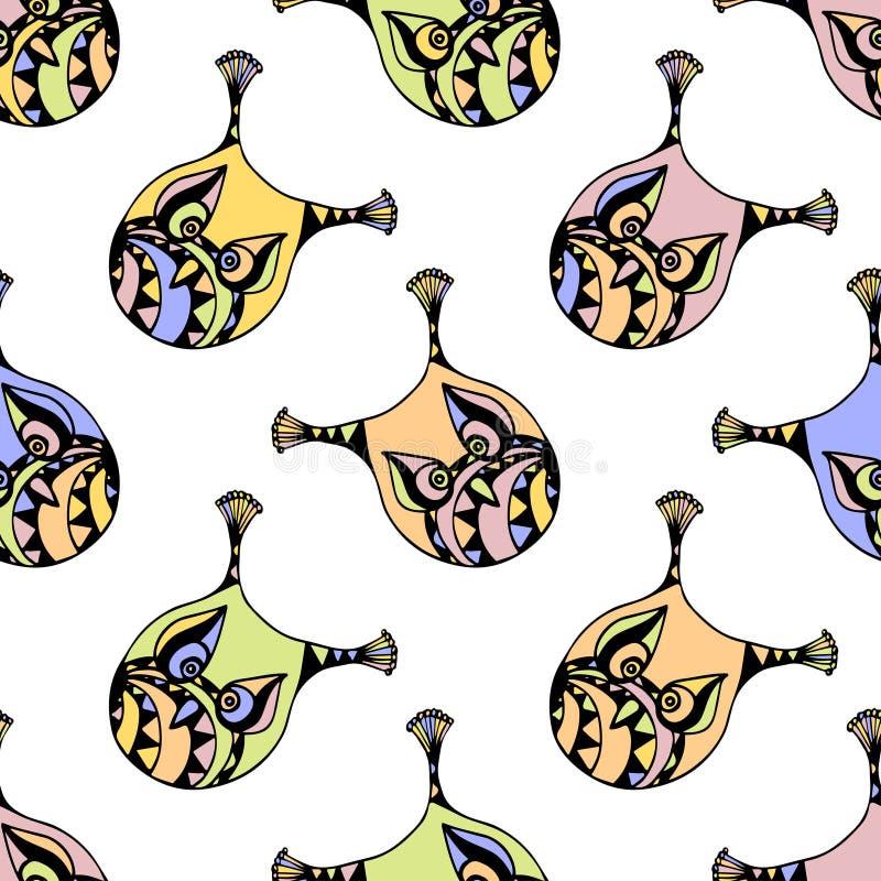 Teste padrão sem emenda com coruja da cor pastel Fundo para miúdos A ilustração do vetor para o projeto de blocos do presente, en ilustração royalty free