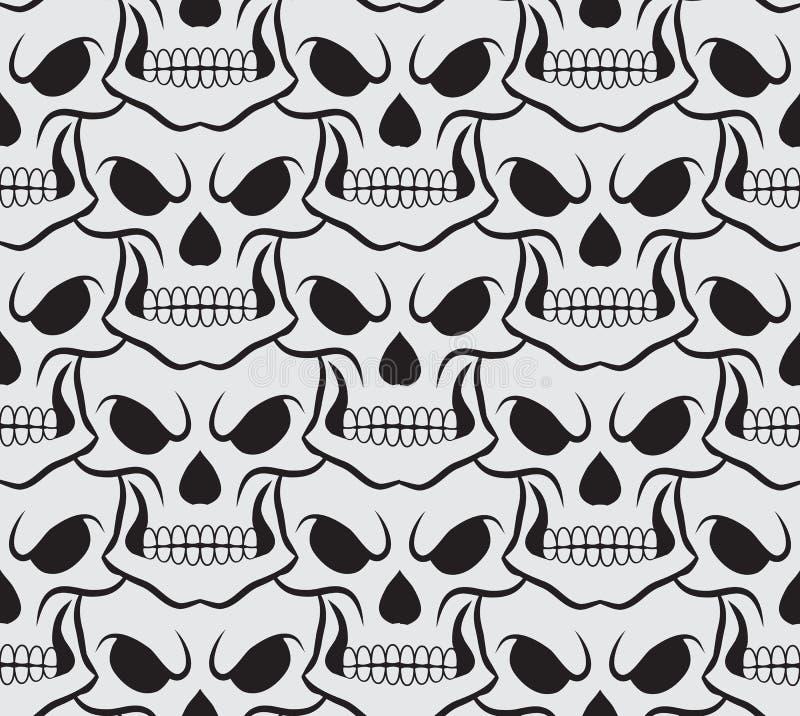 Teste padrão sem emenda com crânios brancos ilustração stock