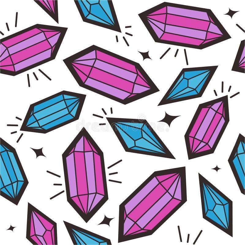 Teste padrão sem emenda com cristais ilustração do vetor