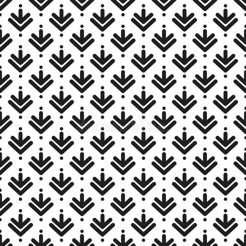Teste padrão sem emenda com cursos pretos no fundo branco Fundo simétrico étnico Teste padrão diagonal do rombo ilustração stock