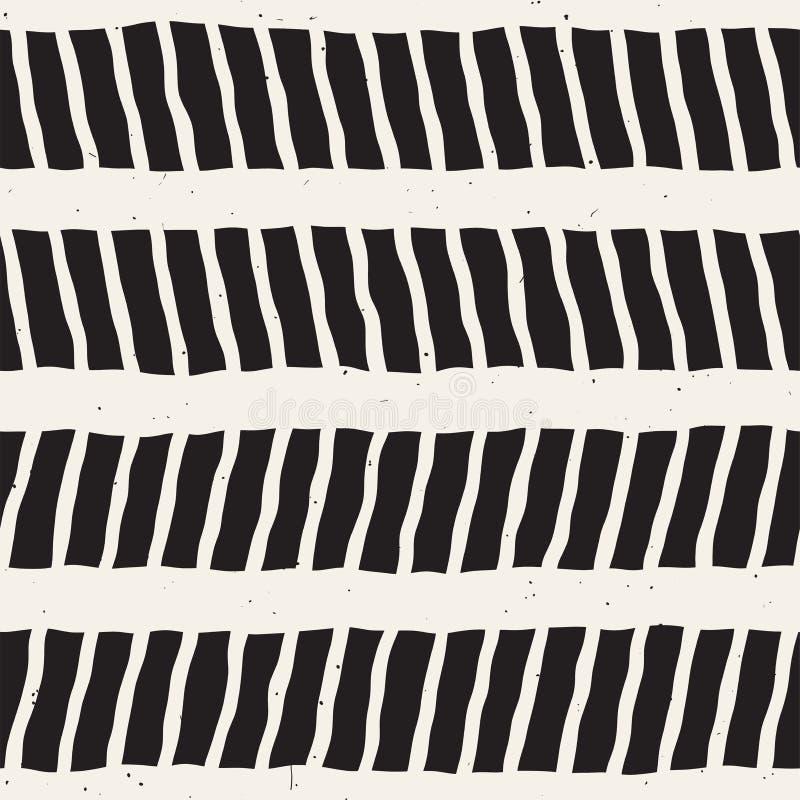 Teste padrão sem emenda com cursos tirados mão da escova Ilustração da garatuja da tinta Teste padrão monocromático geométrico do ilustração stock