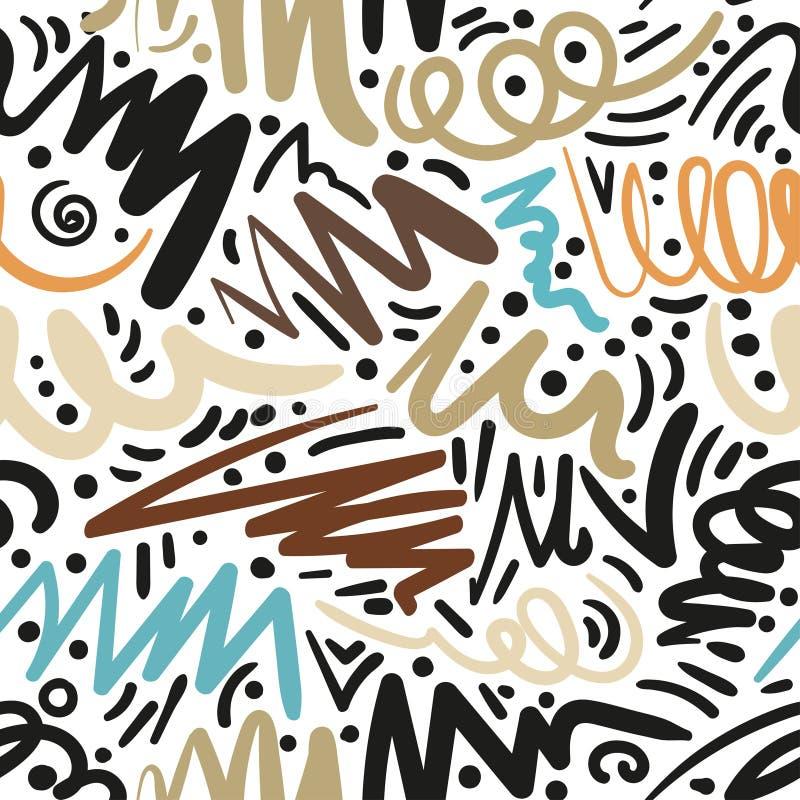 Teste padrão sem emenda com cursos tirados mão da escova Ilustração da tinta Isolado no fundo branco Elementos tirados mão ilustração stock