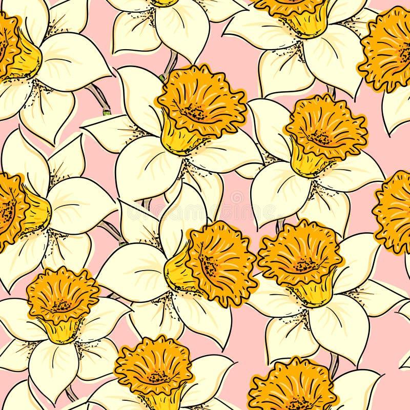 Teste padrão sem emenda com daffodil ilustração stock