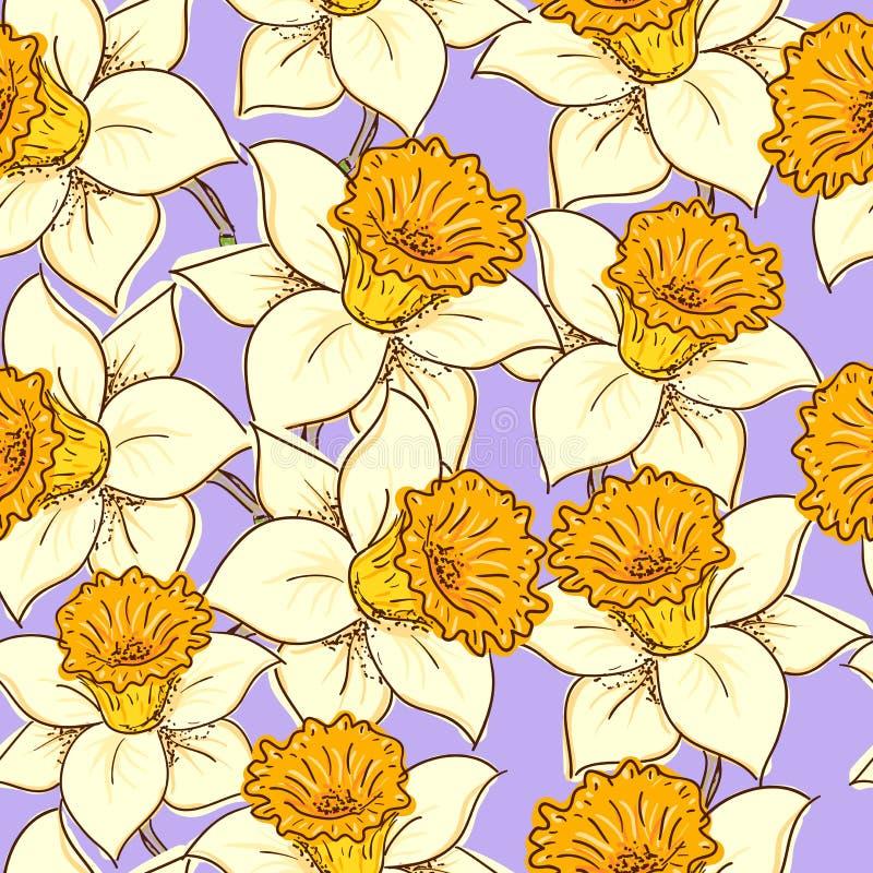Teste padrão sem emenda com daffodil ilustração do vetor
