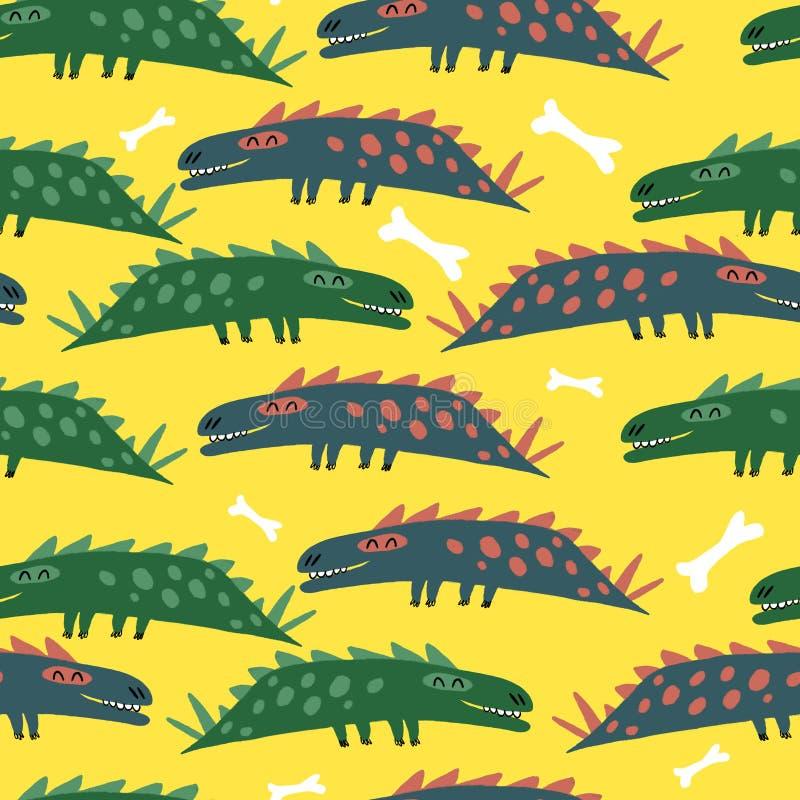 Teste padrão sem emenda com dinossauros ilustração stock