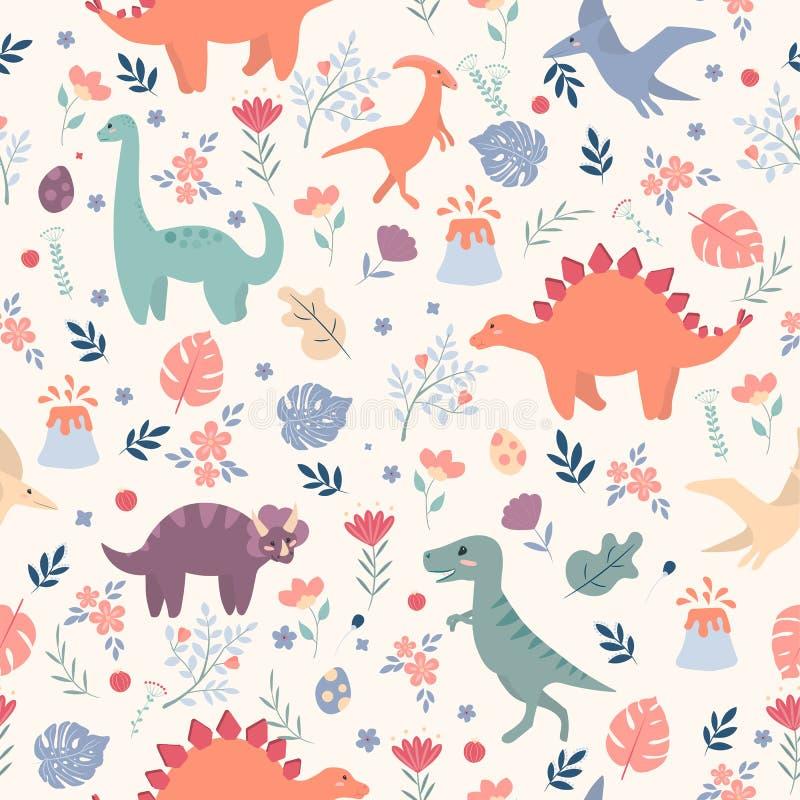 Teste padrão sem emenda com dinossauros e folhas e flores tropicais Aperfeiçoe para a tela das crianças, matéria têxtil, papel de ilustração stock