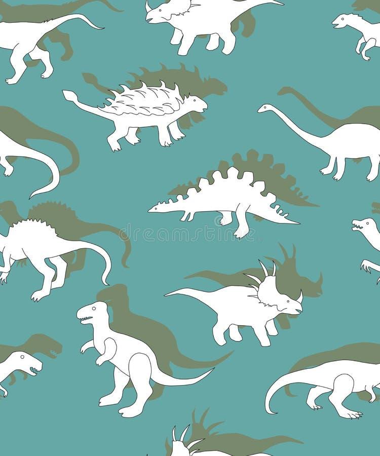 Teste padrão sem emenda com dinossauros, silhuetas do branco dos dinossauros ilustração royalty free