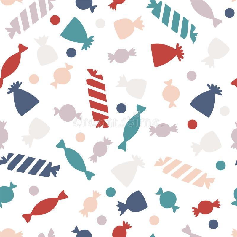 Teste padrão sem emenda com doces coloridos Doces para o partido de Dia das Bruxas ilustração stock