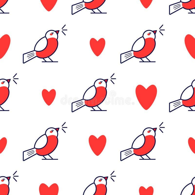 Teste padrão sem emenda com dom-fafe bonito e coração Fundo do feriado para o cartão do Natal e do ano novo ilustração royalty free