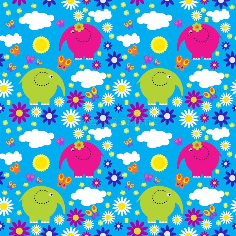 Teste padrão sem emenda com elefantes coloridos em um fundo do clou ilustração do vetor