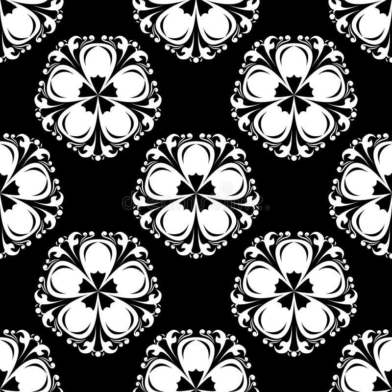 Teste padrão sem emenda com elemento da flor Papel de parede abstrato preto e branco ilustração royalty free