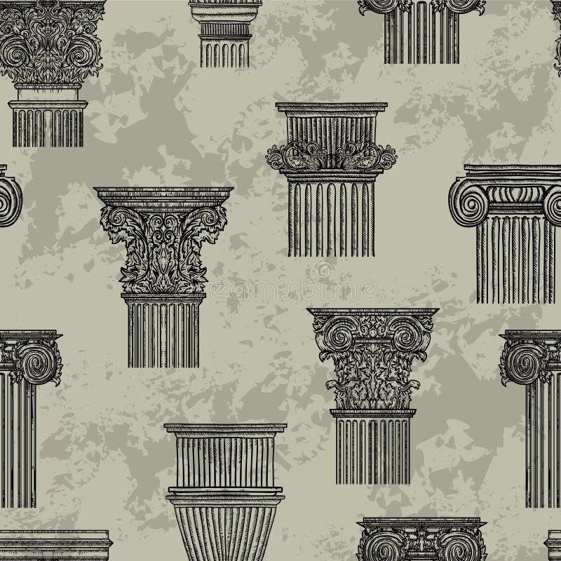 Teste padrão sem emenda com elementos arquitetónicos do projeto de detalhes do vintage Coluna clássica barroco antiga do estilo ilustração royalty free