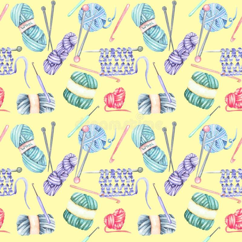 Teste padrão sem emenda com elementos de confecção de malhas da aquarela: fio, agulhas de confecção de malhas e agulhas de crochê ilustração stock