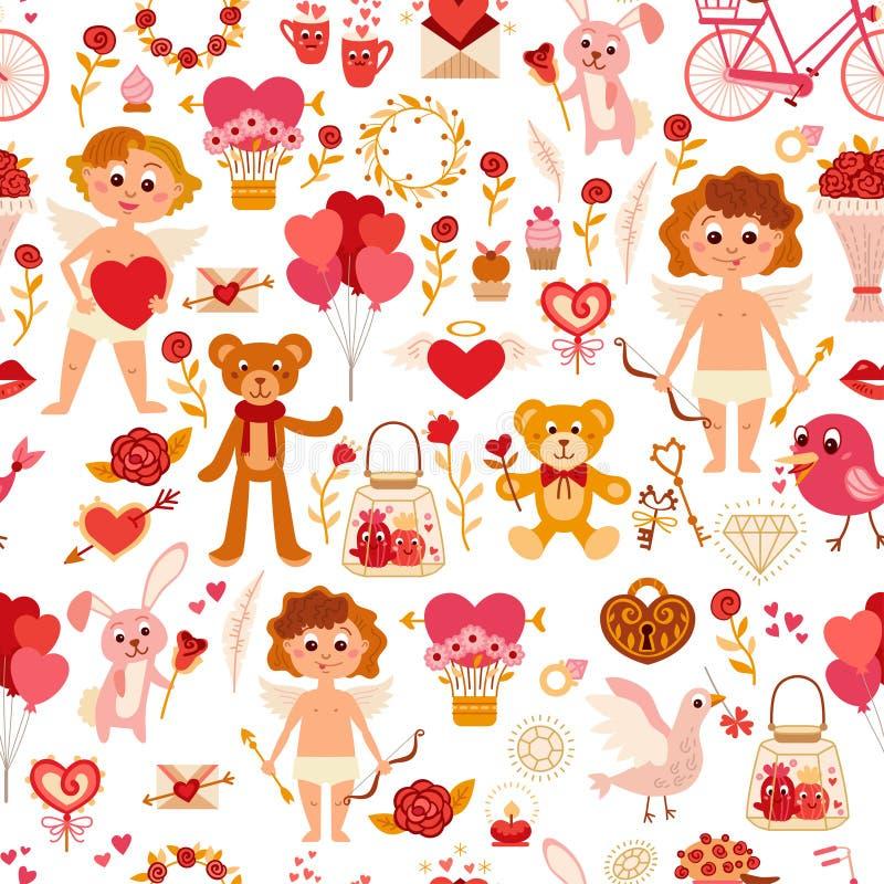 Teste padrão sem emenda com elementos do amor Ilustração do vetor ilustração do vetor