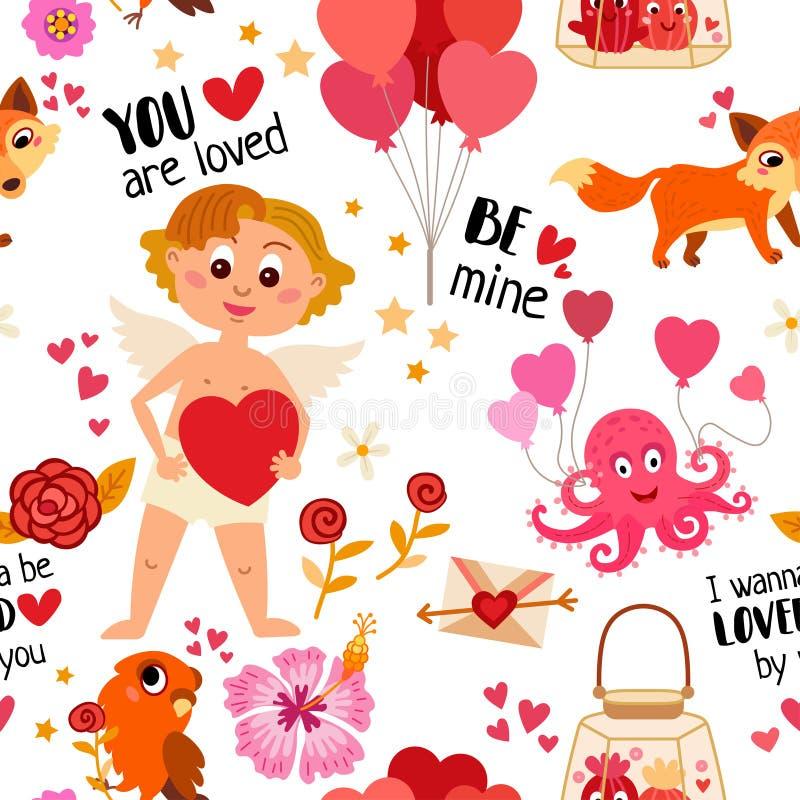 Teste padrão sem emenda com elementos do amor Ilustração do vetor ilustração stock