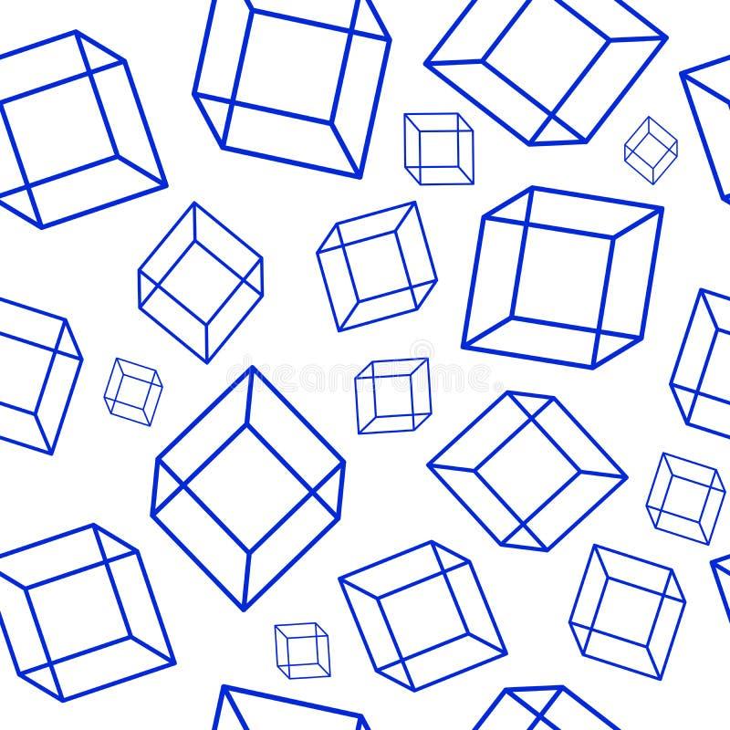 Teste padrão sem emenda com elementos geométricos - cubos azuis no whi ilustração stock