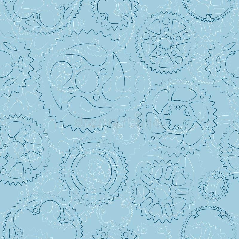 Teste padrão sem emenda com engrenagens e rodas denteadas ilustração do vetor