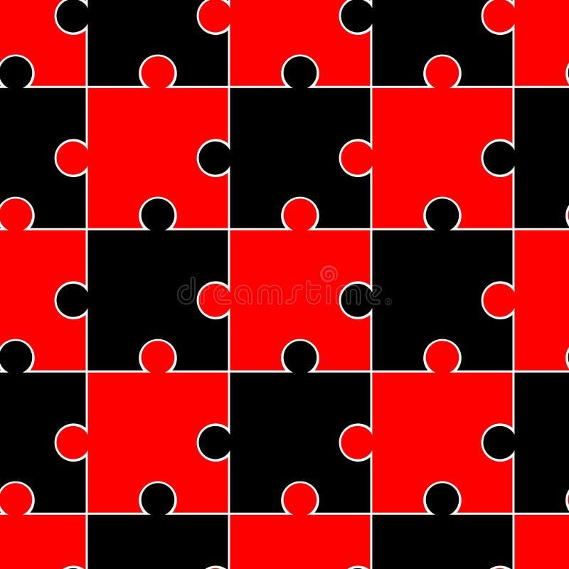 Teste padrão sem emenda com enigmas pretos e vermelhos Fundo do mosaico Testes padrões para folhas de congelamento comestíveis pa ilustração do vetor