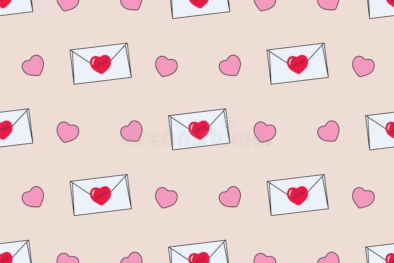 Teste padrão sem emenda com envelopes e corações para o dia do ` s do Valentim ilustração do vetor