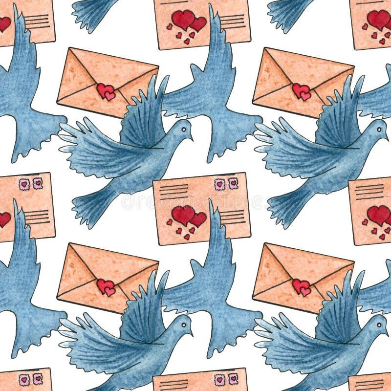 Teste padrão sem emenda com envelopes, pombo ilustração stock
