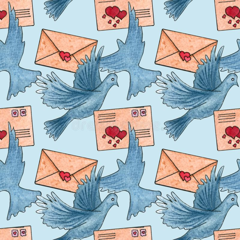 Teste padrão sem emenda com envelopes, pombo Dia do `s do Valentim ilustração royalty free