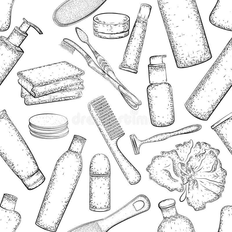 Teste padrão sem emenda com esboço detalhado dos elementos para o banho ilustração stock