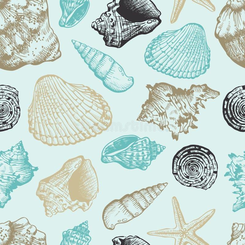 Teste padrão sem emenda com escudos do mar ilustração stock