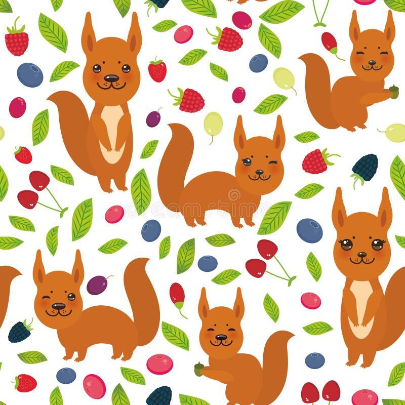 Teste padrão sem emenda com esquilo vermelho, uva de Goji da airela do arando de Cherry Strawberry Raspberry Blackberry Blueberry ilustração do vetor