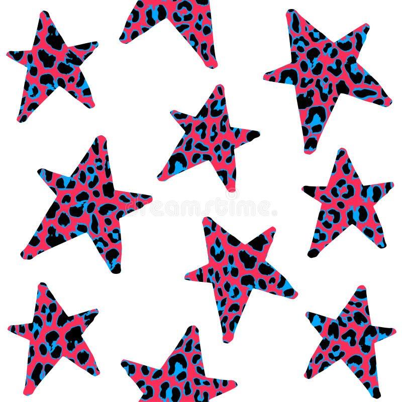 Teste padrão sem emenda com estrelas do leopardo, a rocha na moda ou projeto punk, ilustração royalty free