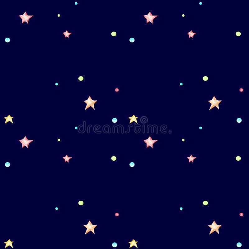 Teste padrão sem emenda com estrelas pequenas em um escuro - fundo azul ilustração royalty free