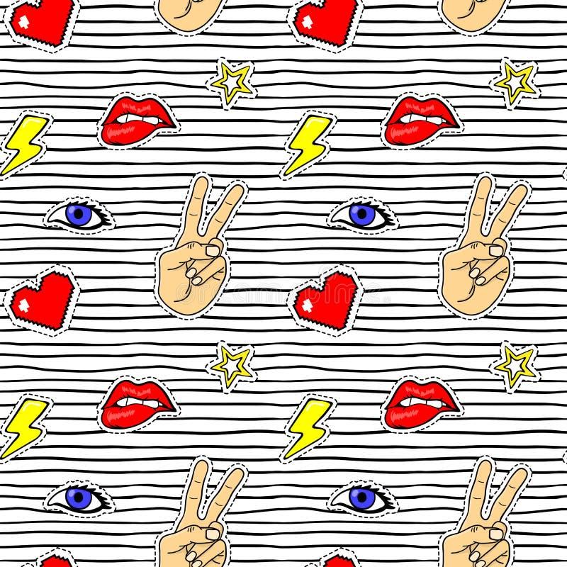 Teste padrão sem emenda com etiquetas do pop art com bordos, mão, olho, coração, relâmpago ilustração stock
