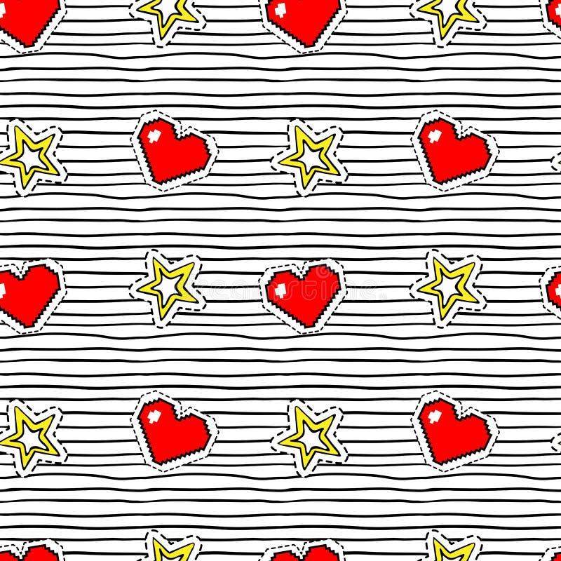 Teste padrão sem emenda com etiquetas do pop art com coração e estrela do pixel na textura com listras pretas ilustração stock