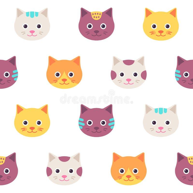 Teste padrão sem emenda com faces do gato Ilustração do vetor, projeto liso ilustração stock