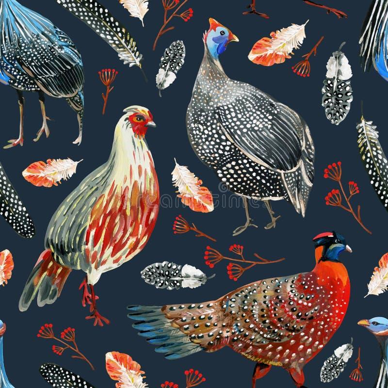 Teste padrão sem emenda com faisão desenhados à mão, guineafowls, penas e ramos com bagas em um fundo escuro ilustração royalty free