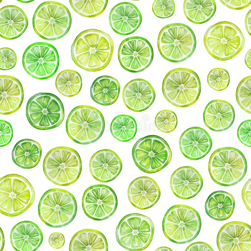 Teste padrão sem emenda com fatias coloridas bonitas do citrino Pintura da aguarela Ilustração tirada mão do verão ilustração stock