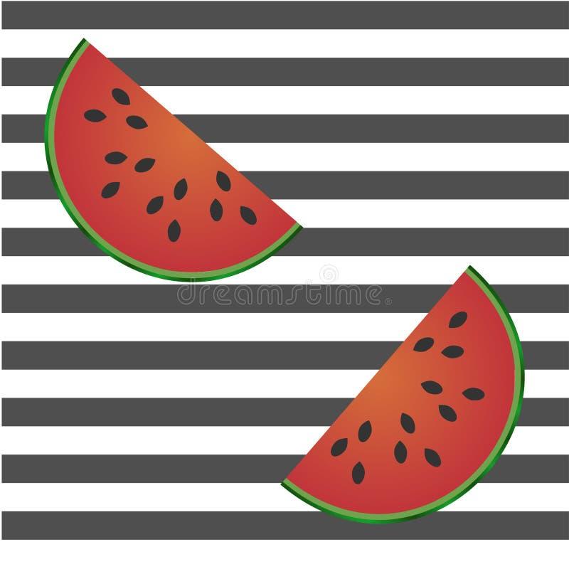 Teste padrão sem emenda com fatias da melancia em tiras do branco e do preto ilustração royalty free