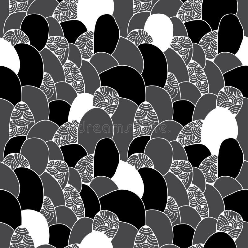 Teste padrão sem emenda com figuras abstratas de fluxo Série monocromática ilustração do vetor