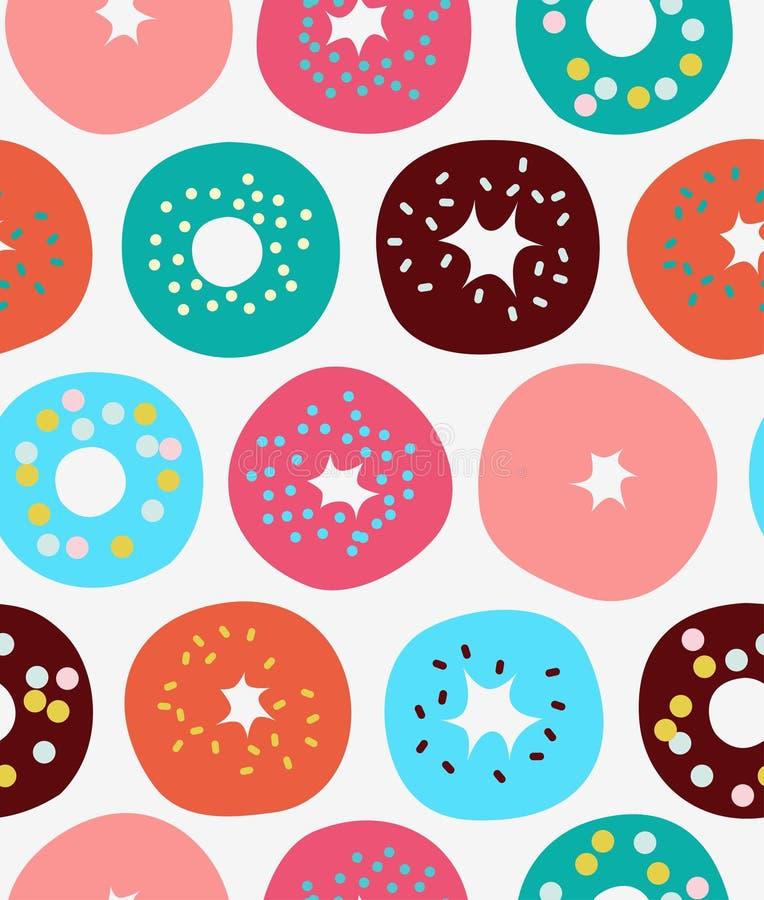Teste padrão sem emenda com filhóses, anéis de espuma, macarrão, fundo do vetor com bolos ilustração stock