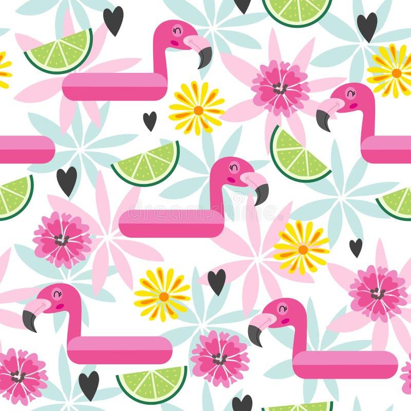 Teste padrão sem emenda com flamingo cor-de-rosa e as flores tropicais ilustração royalty free