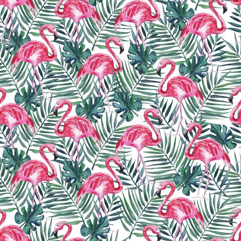Teste padrão sem emenda com flamingo cor-de-rosa e folhas de palmeira em um fundo branco Ilustra??o da aguarela ilustração stock