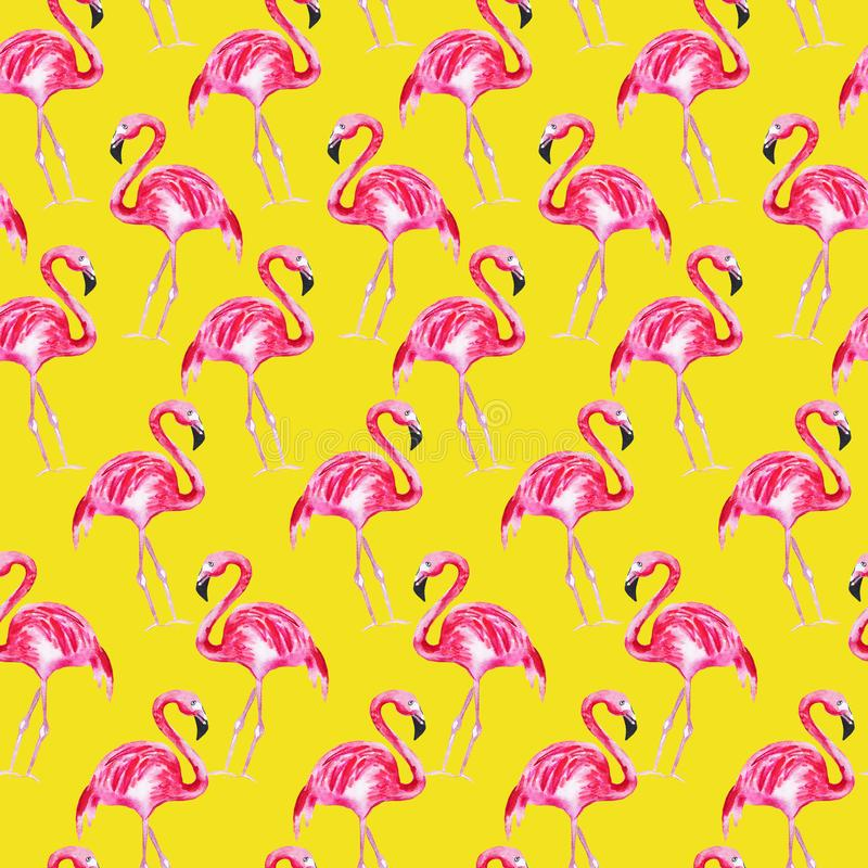 Teste padrão sem emenda com flamingo cor-de-rosa em um fundo amarelo Ilustra??o da aguarela ilustração stock