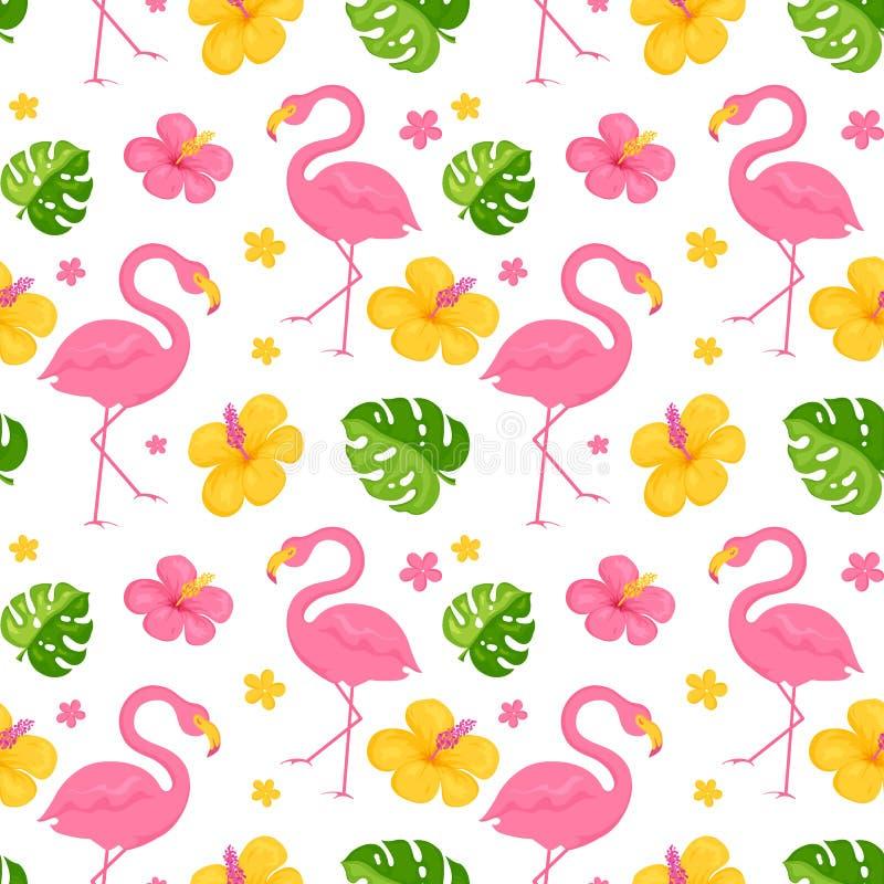 Teste padr?o sem emenda com flamingos, as folhas tropicais e as flores Fundo do vetor ilustração do vetor