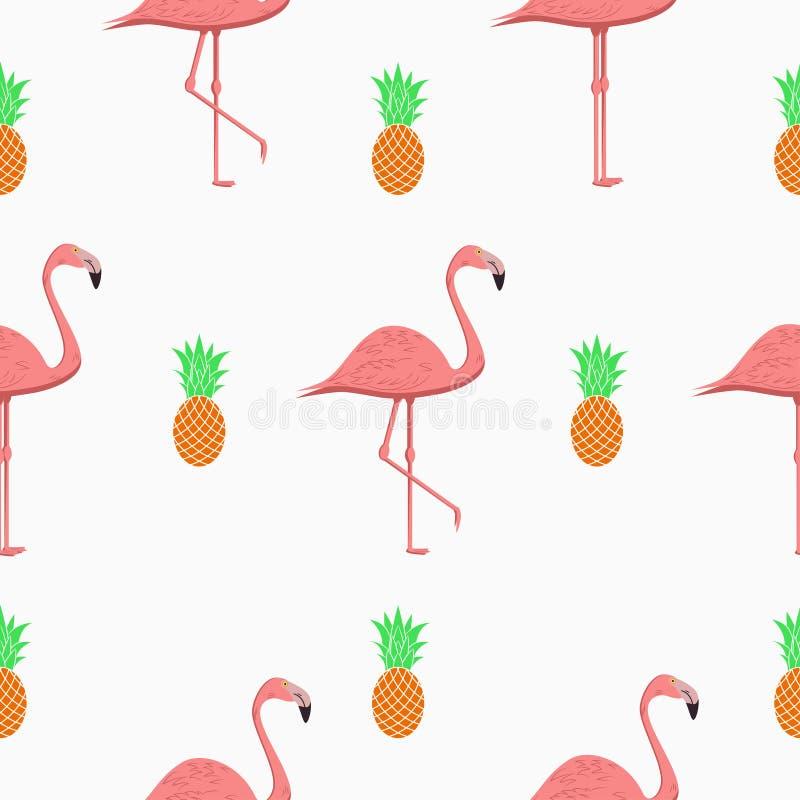 Teste padrão sem emenda com flamingos e abacaxis Fundo tropical exótico Vetor ilustração stock