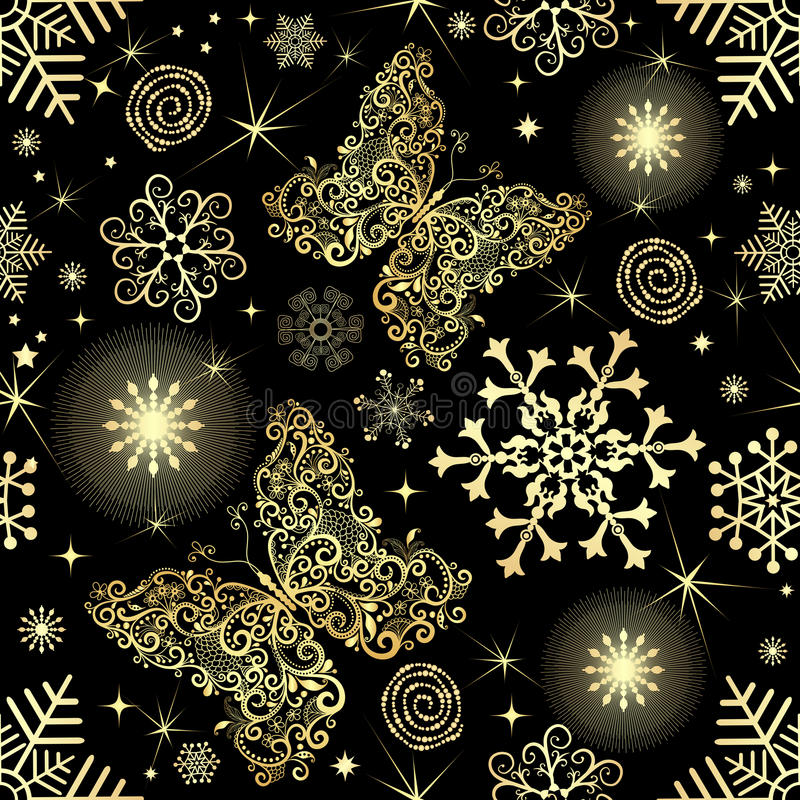 Teste padrão sem emenda com flocos de neve e borboletas do ouro ilustração do vetor