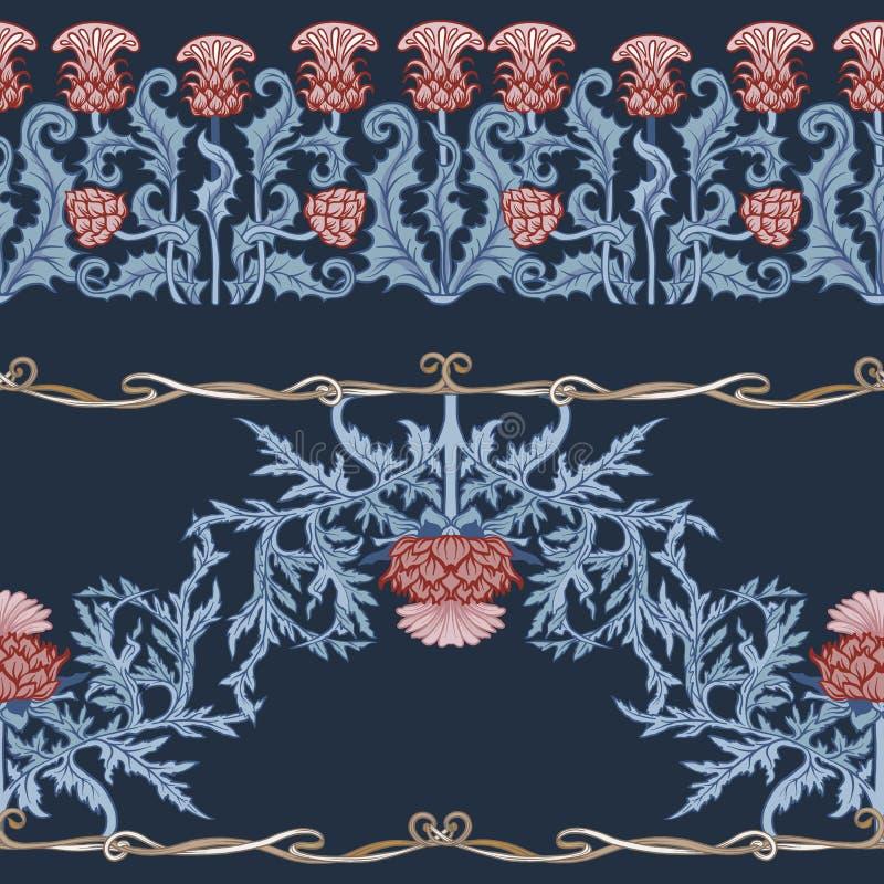 Teste padrão sem emenda com flor do cardo, fundo no estilo do art nouveau de n, vintage, estilo velho, retro n ilustração do vetor