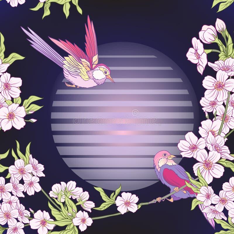 Teste padrão sem emenda com flor japonesa sakura e guindaste, pássaro ilustração do vetor