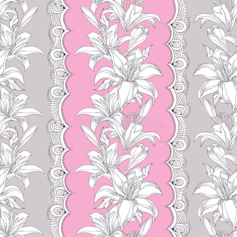 Teste padrão sem emenda com a flor ornamentado do lírio branco, o botão, as folhas e laço branco decorativo no fundo cor-de-rosa ilustração do vetor