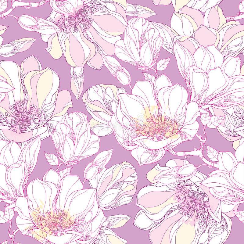 Teste padrão sem emenda com a flor ornamentado e as folhas da magnólia no branco no fundo pastel Fundo floral no estilo do contor ilustração royalty free