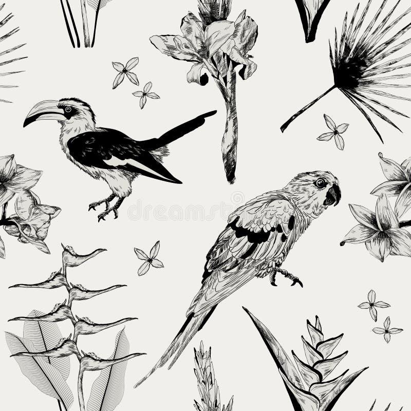 Teste padrão sem emenda com a flora tropical selvagem e a fauna ilustração do vetor