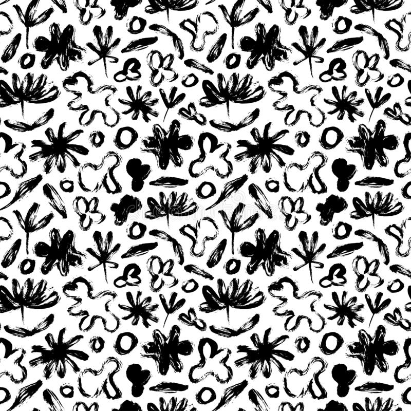 Teste padrão sem emenda com flores abstratas, folhas e formas amorfas Textura orgânica do grunge do vetor ilustração stock